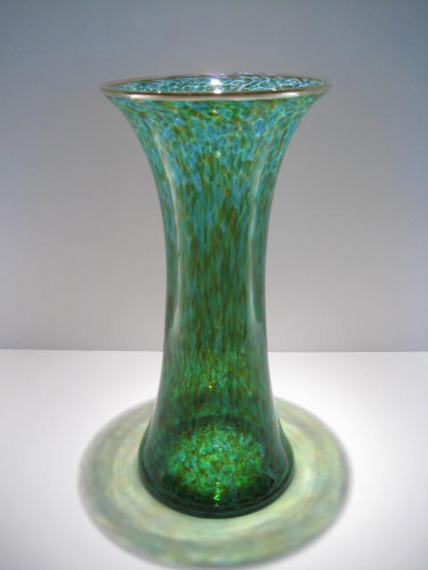 Red Green Hourglass Vase Medium Glass Canvas Size 13 X 65
