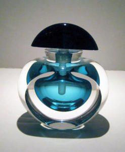 "Aqua-Black-Perfume-Bottle, Medium: Glass Canvas Size: 4"" x 4"" Artist: Correia Glass #18415 Price: $690.00 REDUCED: $495.00"