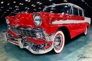 "1956-Chevrolet-Bel-Air, Medium: Original Acrylic on Canvas Size: 24"" x 36"" #20530 Artist: Shannon Fannin"