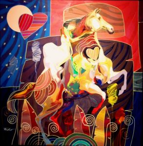 "Rainbow Gallop, Medium: Original Acrylic on Canvas Size: 27"" x 27"" #17367 Artist: Tadeo De La Barra"