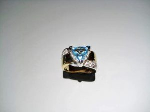 18K Gold and Platinum Ring with Aquamarine and Diamond Artist: Petri's Gallery Catalog: 596-97-6 #18761 Price: $16,000.00 REDUCED: $8,000.00
