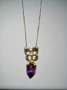 18K Gold Pendant with Amethyst and Diamond (chain included) Artist: Frantz Catalog: 603-86-8 Price: $1,500.00 REDUCED: $750.00