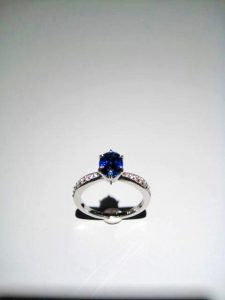 14K White Gold Ring with 1.69c Sapphire and .25c Diamond Artist: Kabana Stavros Catalog: 895-13-9 Price: $6,500.00