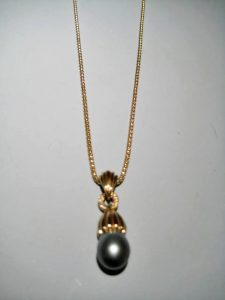 14K Gold Pendant Only with South Sea Pearl and Diamond Artist: Kabana Stavros Catalog: 603-75-3