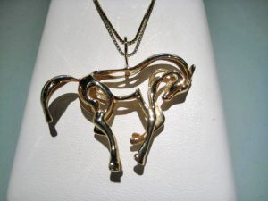 14K Gold Horse Pendant Only Artist: Petri's Gallery Catalog: 497-67-3 #21307 Price: $995.00 REDUCED: $395.00