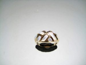14K Gold Ring with White Mother of Pearl Artist: Kabana Stavros Catalog: 895-46-1 #18902 Price: $1,750.00 REDUCED: $650.00