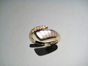 14K Gold Ring with White Mother of Pearl and Diamond Artist: Kabana Stavros Catalog: 895-50-0 #19968 Price: $1,650.00 REDUCED: $800.00