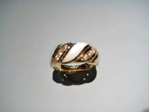 14K Gold Ring with White Mother of Pearl and .20c Diamond Artist: Kabana Stavros Catalog: 800-60-8