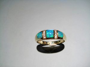 14K Gold Ring with Opal and Diamond Artist: Kabana Stavros Catalog: 800-49-2