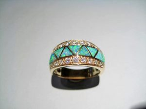 14K Gold Ring with Opal and .40c Diamond Artist: Kabana Stavros Catalog: 473-02-8