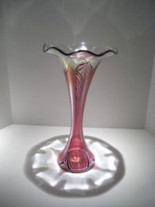 Gold and Ruby Feathered Trumpet Vase Artist: Stuart Abelman Catalog: 435-37-8 #19467 Price: $950.00 REDUCED: $450.00