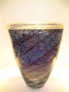 Purple and Silver Leaf Vase Artist: Kevin O'Grady Catalog: 211-55-81