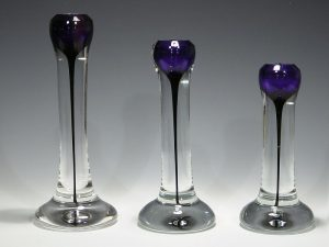Set of Three Purple Candleholders Artist: Steve Adams Catalog: 522-47-0