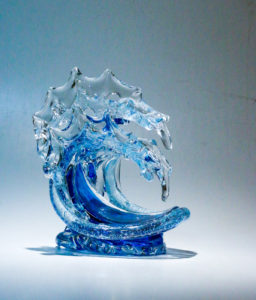 "Double Medium Tsunami in spring water with champagne edge, Medium: Glass, Artist David Wight, Size: 11.5"" x 9.5"" x 9"" Inv. 21723"