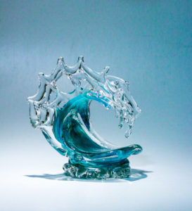 "Extra Small Tsunami in Turquoise, Medium: Glass, Artist: David Wight, Size: 9.5"" x 8.5"" x 7"" Inv. 21721"
