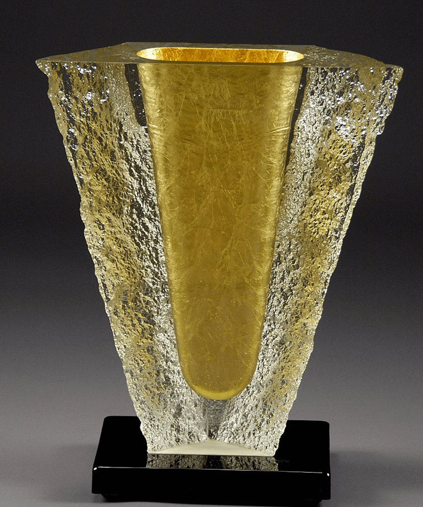 "John Lewis Yellow-Gold-Glacier-Vessel- 23""H x20""W $19000 Sales $11000"